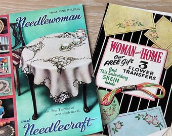Vintage Needlewoman & Needlecraft Magazine with Embroidery Transfers/1950s/ Craft Supplies/ Haberdashery/ Sewing/ Crochet/ Knitting Pattern