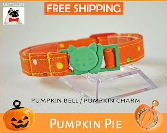 'Pumpkin Pie' Halloween edition of collars for cat and kitten with breakaway buckle
