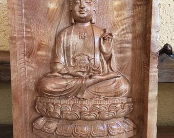 oak carved wooden buddha