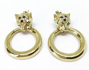 18ct Gold Leopard Diamond & Sapphire Door Knocker Style Earrings
