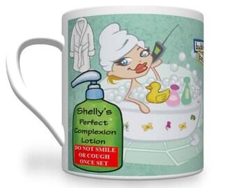 Personalised Friend Mug. Cheeky Mug For Friend. Bath Tart Mug.