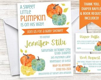 Little Pumpkin Boy Baby Shower Invite Invitation 5x7 Digital Personalized On His Way Fall Sprinkle Halloween