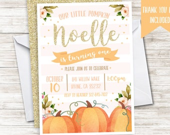 Pumpkin Birthday Invitation Invite ANY AGE Digital Fall Girls Pink Gold Glitter 5x7