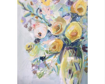 Floral art ORIGINAL floral painting bright wall square decor