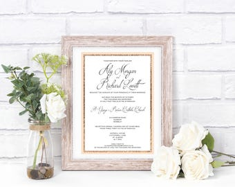 Rose Gold Glitter Detail Wedding Invitation - Sample + Voucher