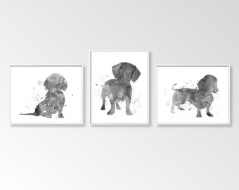 Dachshund Prints, Set of 3 Printable, Digital Dachshund, Black and White, Dachshund Watercolor, DIY Wall Art, Large Wall Décor, Gift