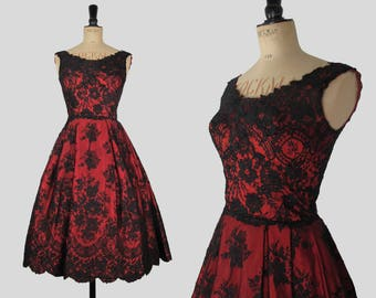 """50s Vintage Neymar Couture Bright Red and Black Floral Lace and Netted Detail Dress with Huge Full Pleated Skirt XXS - 24"""" waist"""