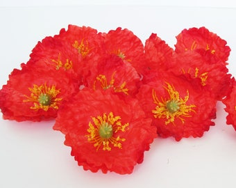"24 Red Poppies Artificial Flowers Silk Poppy 2.6"" Flower Wedding Anemones Supplies Faux Fake Anemone"