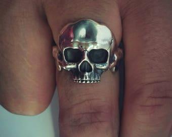 skull ring , silver ring , rings for men , skull ring biker