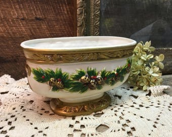 Napco Ware Porcelain Christmas Planter/Pine Cones/X-8659/Vintage
