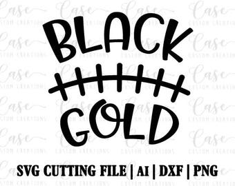 Black and Gold Football SVG Cutting FIle, Ai, Dxf and PNG | Instant Download | Cricut and Silhouette | Football | Football Player | Pirates