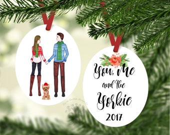 You, Me and The Yorkie Ornament, Christmas Ornament, Dog Ornament, Family with pets Ornament, Yorkie Ornament, Yorkie Gift, Custom Ornament