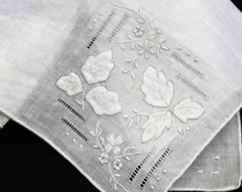 Vintage hand Embroidered Ivory Handkerchief  Bridal Hankie  Mother of the Bride  Bridal Shower Gift  Original foil sticker Something Old