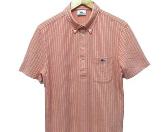 Hot Sale!!! Rare Vintage 90s LACOSTE Single Pocket Striped Polo Shirt Hip Hop Skate Swag Medium (4) Size