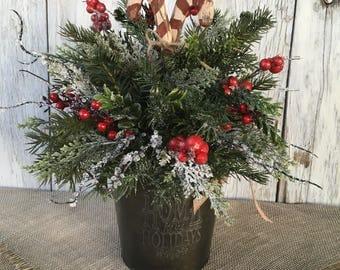 Tin Home for the Holidays Christmas Centerpiece, Farmhouse Winter Arrangement,  Candy Cane Winter Centerpiece, Primitive Centerpiece