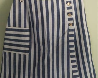 60s vintage blue and white striped linen skort