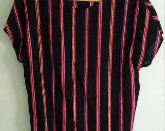 90s vintage black striped top