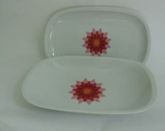 Two large serve bowls of Arzberg with bright pink and red flower, made in Germany