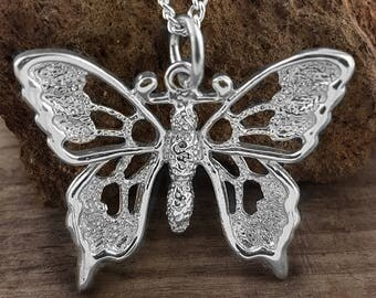 Handmade Butterfly Pendant and Chain, Large Butterfly - pretty Butterfly
