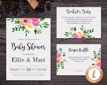 INSTANT DOWNLOAD Baby Shower Invitation Template, Printable Baby Shower, Baby Shower Invitation Suite, Baby Shower Invitation Set, Templett