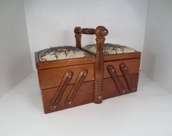 Vintage Expandable Wooden Sewing Supplies Caddy, Sewing Storage Box, Red Velvet Lined, Padded Lids