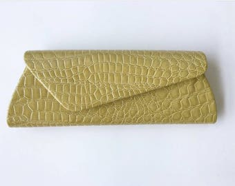 Vintage Assymetrical Embossed Croc Clutch in Light Yellow-green