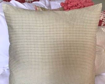 Green Checked Pillow Cover