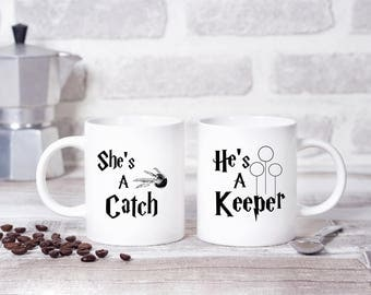 He's a Keeper, She's a Catch Harry Potter Quidditch TWIN PACK (x2) 11oz MUGs