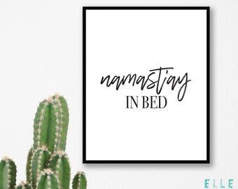 Namaste // Namast'ay In Bed // Bedroom Print // Home Decor // Modern // A4 Prints // A5 Prints // Wall Art // Funny // Yoga // Boho //