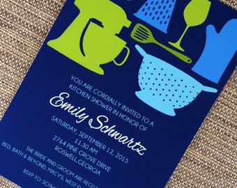 Blue and Green Kitchen Shower Invitation and White or Optional Lined Envelopes, Set of 10