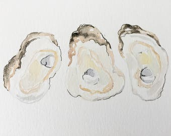 Oyster Watercolor + Ink Original