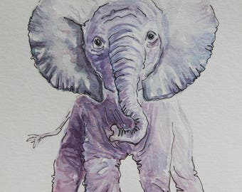 Baby Elephant Watercolor Painting - WILD SERIES