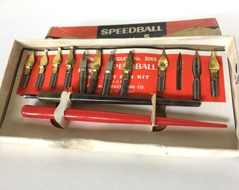 Vintage Speedball Set No. 5 with Pens and Extra Nibs Artist Set Calligraphy, Lettering and Drawing No Instructions