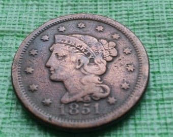 1851 Braided Hair large cent.   Old US coin  #O665