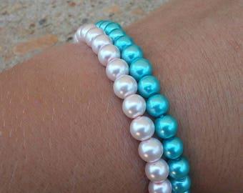 Rose pink/turquoise glass bead bracelet