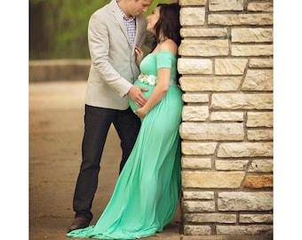 Short Sleeve Maternity Dress for Photo Shoot-Maternity Gown-Long Maternity Gown-Maxi Gown-NO SPLIT FRONT-Straight Neckline-Baby Shower Dress