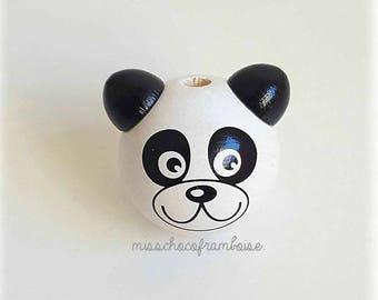 Wooden 3D panda head bead