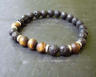 Mens bracelet - Protection bracelet - Tribal Bracelet - Man's bracelet - Mixed beads man's bracelet - Bracelet - Gift for him - Tiger's Eye