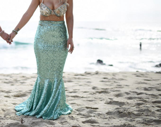 Featured listing image: High Waist Sexy Sequin Mermaid Skirt Costume - CLASSIC Mermaid Tail - Sparkly Mint Green