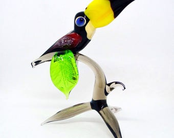 Glass Toucan on Branch - Bird Figurine - Glass Composition - Collectible Figure - Wall Statue - Christmas Toy - Sculpture Gifts