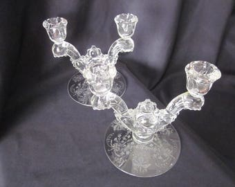 Heisey Orchid Etched Double Candlestick Holders Set of Two