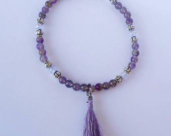 Purple Amethyst Bead Bracelet with Tassel
