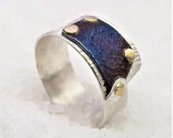 Men's Ring (unisex) steampunk industrial Silver Gold titanium blue.