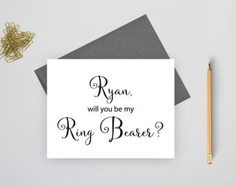 Personalized Will you be my ring bearer card, wedding stationary, personalized stationery, wedding stationery, folded wedding cards