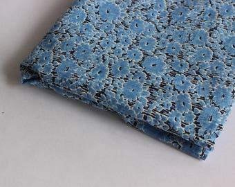 Blue floral print cotton lawn