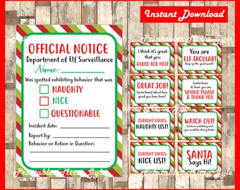 Christmas Elf Behavior Update Cards, Naughty & Nice List Cards, Official Notice, Warning, Behavior Cards, Instant Digital Download