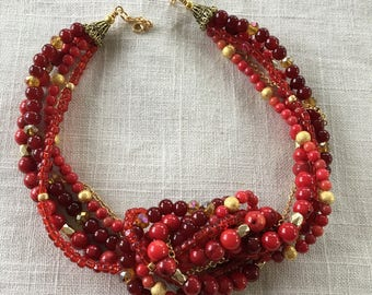 Red and gold multi-strand necklace with matching earrings for Valentine's Day!
