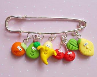 Cute fruits Pin- Handmade fruits brooch- Polymer clay creation- Banana, Pear, Cherry, Lemon, Orange charms