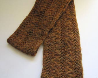 Hand knit Scarf/Hand spun knit scarf/Winter Scarf/Rust colored scarf/Merino wool scarf