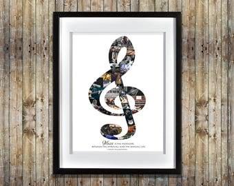 Music Photo Collage   Music Gift   Music Teacher Gift   Music Wall Art    Music